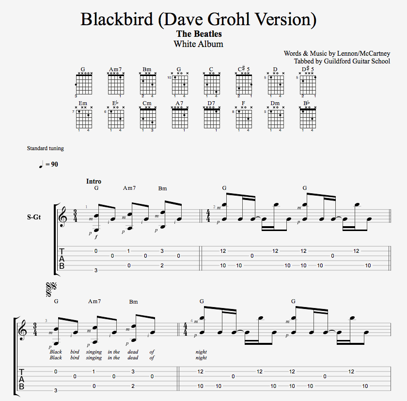 Blackbird Guitar Chords